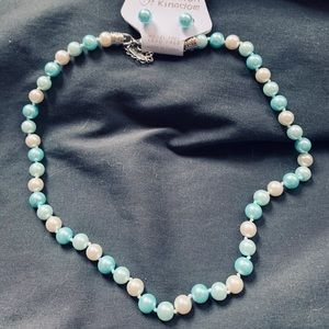 Teal & white pearl necklace & matching earrings.